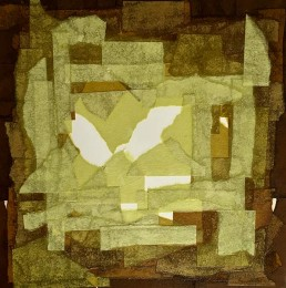 Meera Thompson - acrylic on panels with collage elements - Arrangement in Green and Brown