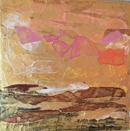Meera Thompson - acrylic on panels with collage elements - Arrangement in Gold and Rust