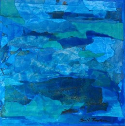 Meera Thompson - acrylic on panels with collage elements - Arrangement in Turquoise and Aquamarine